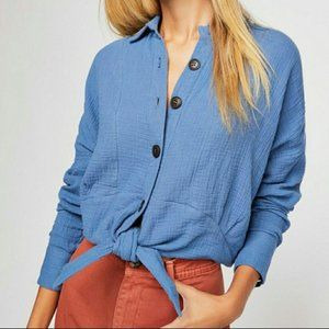 Free People Blue Sunstreaks Tie Front Shirt M NWT